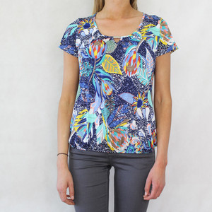 SophieB Tropical Blue Pattern Print Top