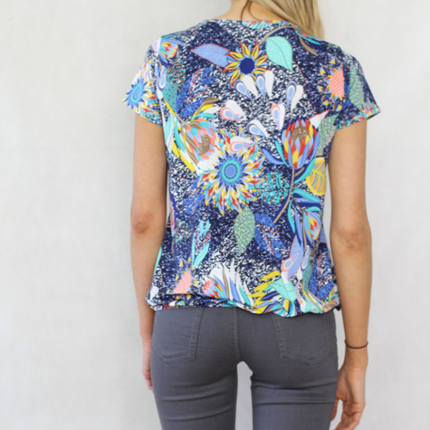 SophieB Tropical Blue Pattern Print Top