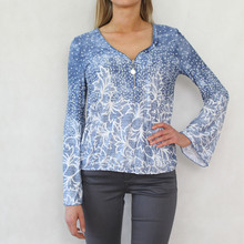 SophieB Pale Blue Denim Tone Zip Detail Top