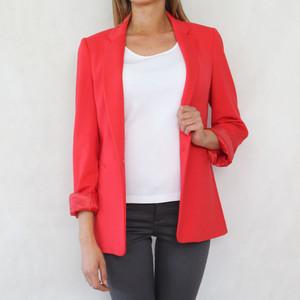 Zapara One Button Red Blazer Jacket