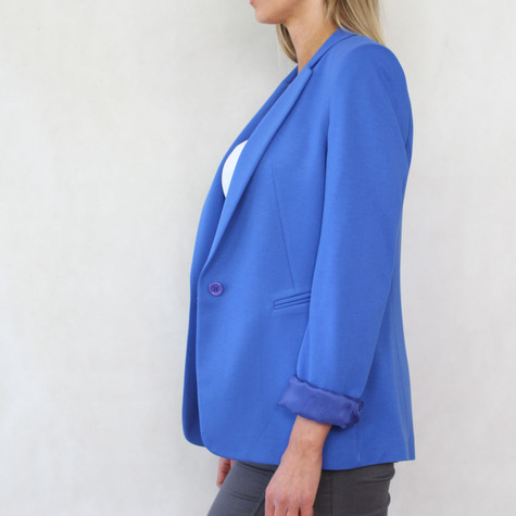 Zapara Royal Blue One Button Blazer Jacket