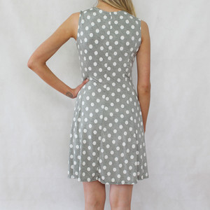 Zapara Khaki White Polka Dot Dress