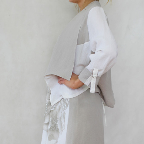 SophieB Natural Linen Style Open Jacket