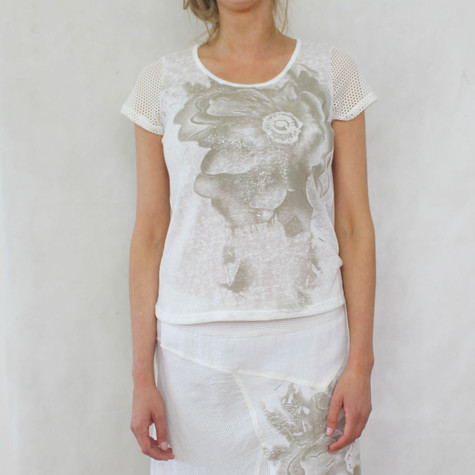 SophieB Natural Mesh Sleeve Faded Floral Print Top