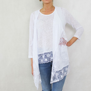 SophieB White Linen Feel Open Knit