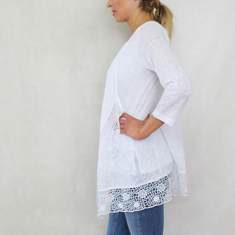 SophieB White Linen Feel Open Knit