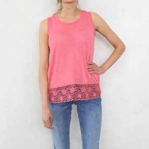 SophieB Coral Linen Feel Vest Top