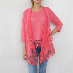 SophieB Coral Open Linen Feel Knit