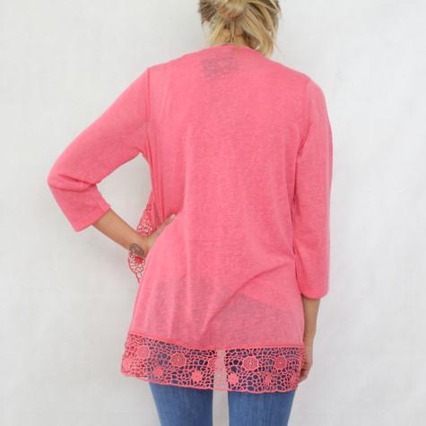 SophieB Coral Open Linen Feel Knit