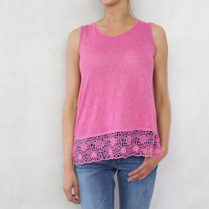 SophieB Fushia Linen Feel Vest Top
