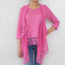 SophieB Fushia Linen Feel Long Open Knit