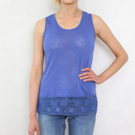 SophieB Royal Blue Linen Feel Vest Top