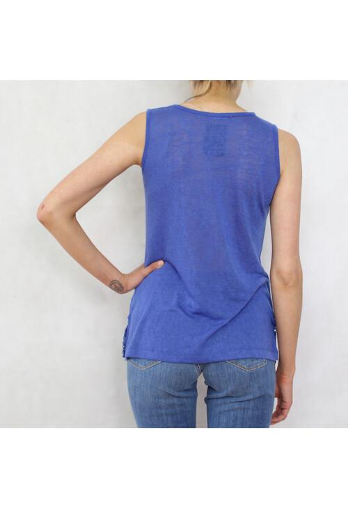 Sophie B Royal Blue Linen Feel Vest Top