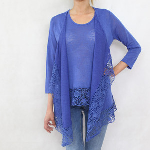 SophieB Royal Blue Long Linen Feel Knit