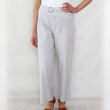 SophieB Natural Pin Strip Linen Feel Wide Leg Trousers