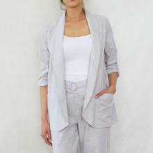 SophieB Natural White Stripe Blazer Jacket