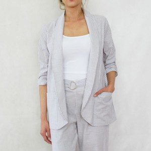 SophieB Natural White Stripe Blazer Jacket