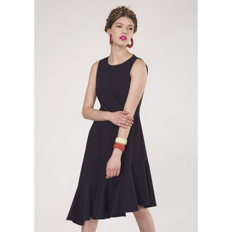 Closet Navy Sleeveless Frill Hem Dress