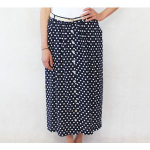 Zapara Navy & White Polka Dot Long Skirt