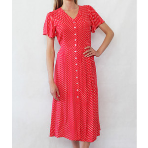Zapara Red & White Polka Dot Dress