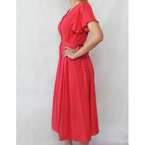 Zapara Red & White Polka Dot Dress