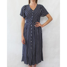 Zapara Navy & White Polka Dot Button Dress