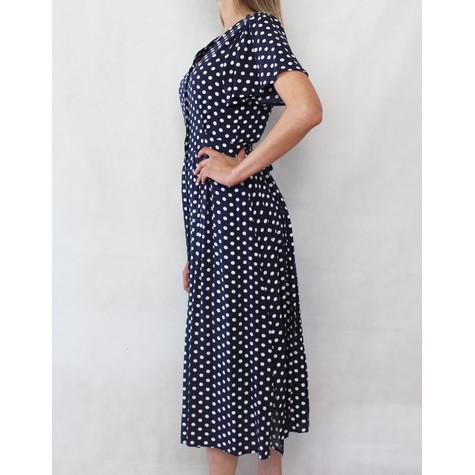 Zapara Navy & White Polka Dot Button Dress