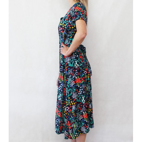 Zapara Red & Navy Floral Button Long Dress