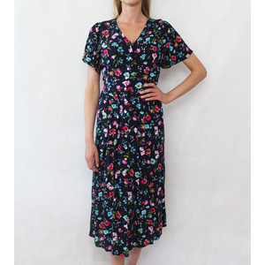 Zapara Pink & Navy Button Long Dress