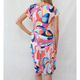 Zapara Coral Abstract Print Wrap V-Neck Dress