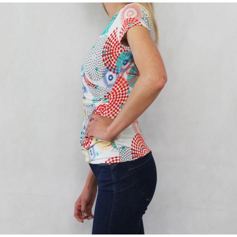 Zapara Orange & Blue Pattern V-Neck Wrap Top