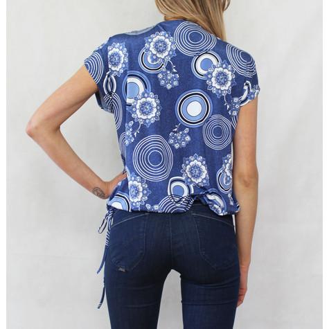 SophieB Blue Swirl Zip Neckline Top