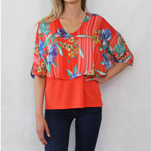 Zapara Red & Blue Floral Cape Top