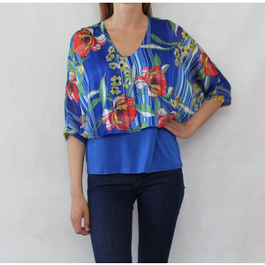 Zapara Royal Blue & Red Cape Floral Print Top