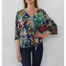 Bella Best Navy & Gold Floral Print V-Neck Top