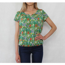 Zapara Green & Yellow Round Neck Top