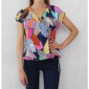 SophieB Navy Multi Colour Flower Print Top
