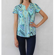 Twist Green & Yellow Pattern V-Neck Top