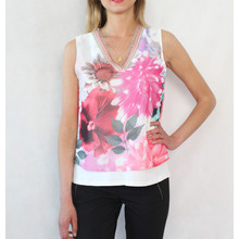 SophieB Fushia & Off White Sleeveless Top