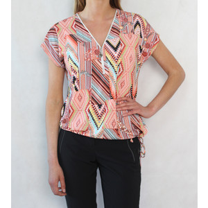 SophieB Coral & Yellow Diamond Pattern Zip Detail Top