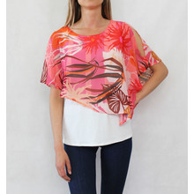 Sophie B Off White Coral Print Cape Top
