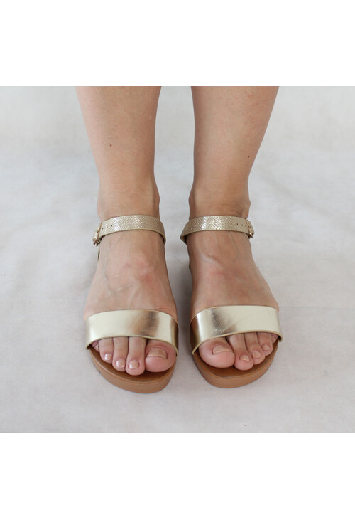 Tony & Co. Gold Strap Flat Sandal