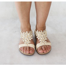 Libra Pop Beige Floral Detail Flat Sandal