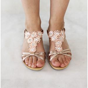 Libra Pop Champagne Floral Strap Sandals
