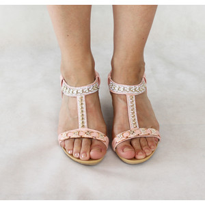 Libra Pop Pink Diamante Strap Detail Sandals