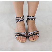 Libra Pop Black & Silver Strap Sandal