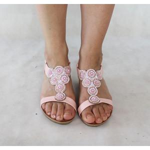 Poti Pati Pink Circular Diamante Flat Sandal
