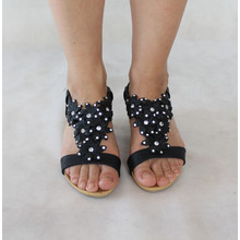 Libra Pop Black Floral Diamante Flat Sandal