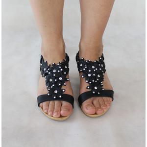 Libra Pop Black Floral Diamante Flat Sandal