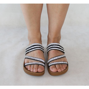 Style Shoes Black Strap with Silver Diamante Detail Sandals